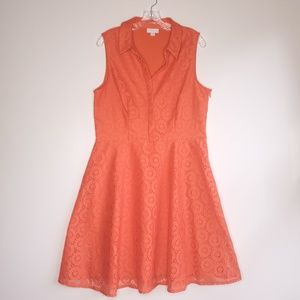 New York & Company Orange Fit & Flare Dress 14